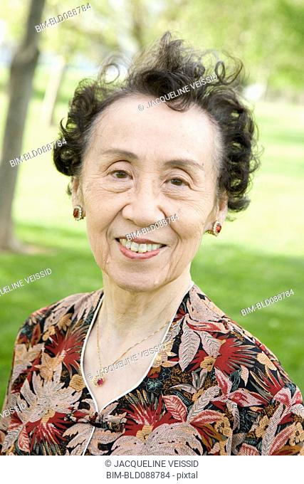 Smiling senior Chinese woman