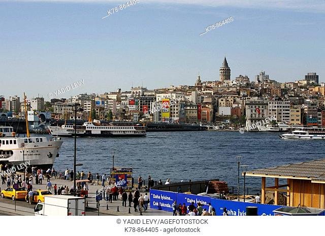 City view over the Golden Horn and the Beyoglu quarter, Istanbul, Turkey