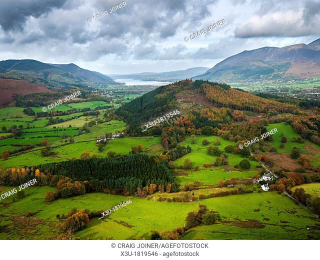 View of Swinside from Cat Bells, near Keswick with Bassenthwaite Lake in the Distance  Cumbria, England, United Kingdom