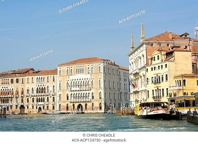 ACTV , water bus at station on the Grand Canal, Venice, Italy