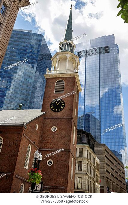 Old South Meeting House church among glass towers Freedom Trail Boston MA USA Massachussets