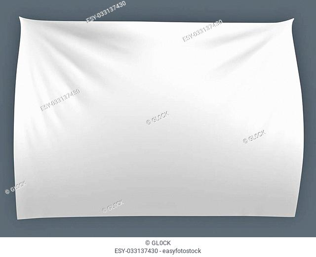 White banner with folds, isolated