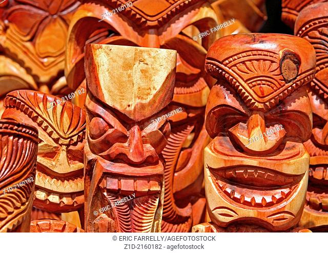 Hawaiian carved wooden ancient faces and masks