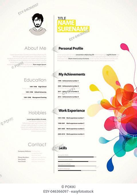 Creative, color rich CV / resume template