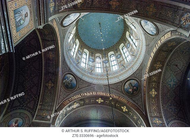 Interior of Uspenski Cathedral. Low-angle view of dome and ceiling. Helsinki, Finland, Europe