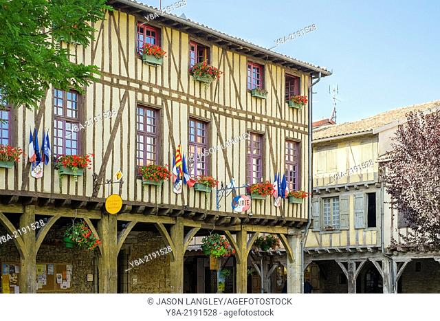 Mirepoix town hall (Mairie) half-timbered building on Place de Couverts in bastide town of Mirepoix, Ariège, Midi-Pyrénées, France