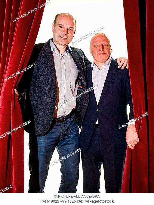27 February 2019, Hamburg: Sewan Latchinian (r), new artistic director, and Axel Schneider, director of the Hamburger Kammerspiele