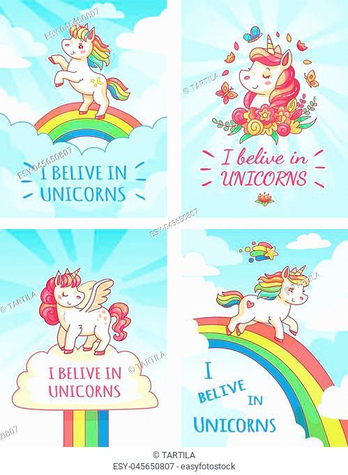 Greeting fantasy card writing design for girl with slogan I believe in unicorns . Rainbow colorful cute magic fairytale cartoon pink unicorn on sky typography...
