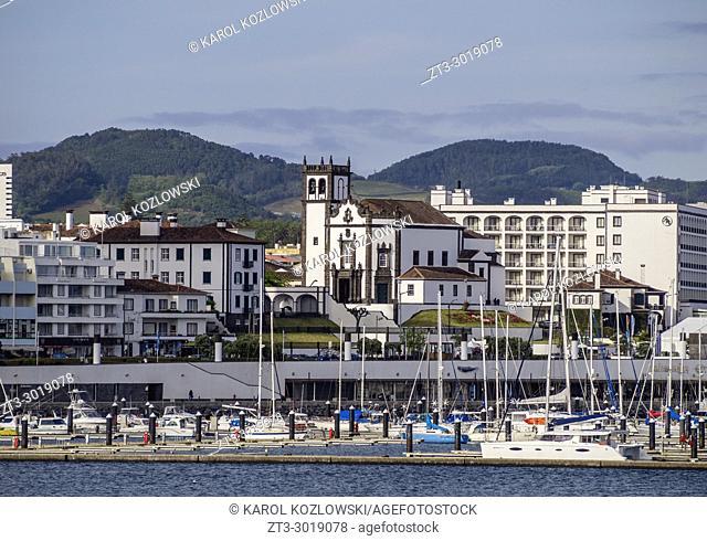 View over port towards Church of Sao Pedro, Ponta Delgada, Sao Miguel Island, Azores, Portugal