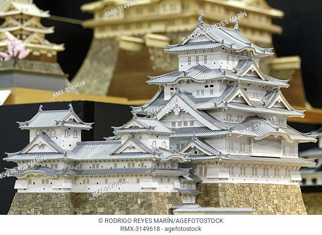 September 29, 2018, Tokyo, Japan - Wood model kits of Japanese castles on display during the 58th All Japan Model and Hobby Show in Tokyo Big Sight