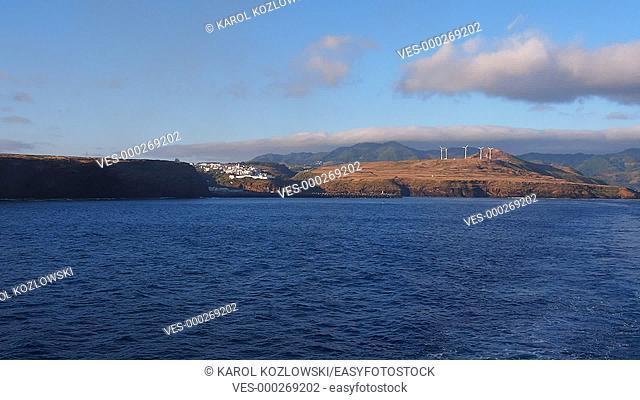 Ferry leaving Vila do Porto on Santa Maria Island, Azores, Portugal