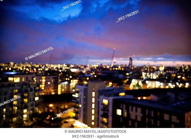 Urban views of London by night, from Bermondsey, London, UK