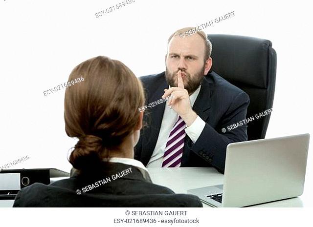 beard business man brunette woman at desk has a secret