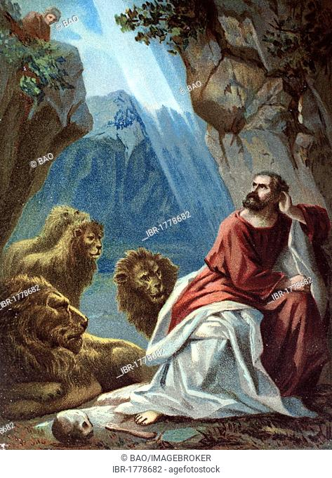 Daniel in the lion's den, chromolithograph from a home bible, 1870