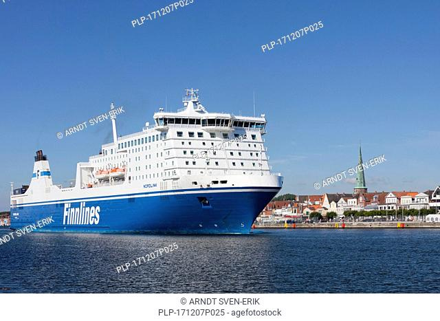 M/S Nordlink, Star class ferry boat sailing for Finnlines between Malmö and Travemünde in the Hanseatic City of Lübeck, Schleswig-Holstein, Germany