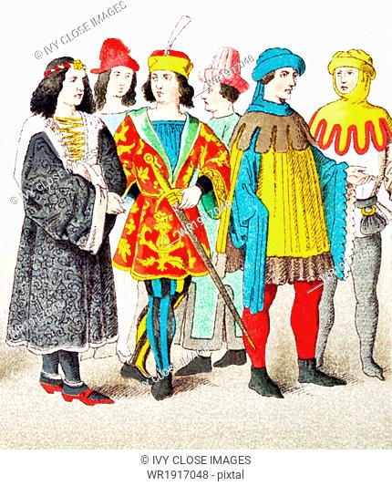 The figures represented here are (from left to right) six German patricians between A.D. 1450 and 1500. The illustration dates to 1882
