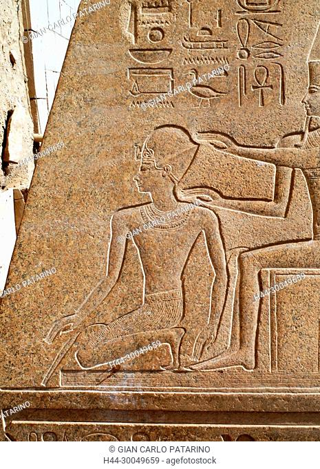 Karnak, Luxor, Egypt. Temple of Karnak sacred to god Amon: the king Tuthmosis III carved on its obelisk