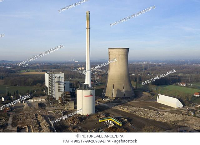 17 February 2017, North Rhine-Westphalia, Dortmund: View of the decommissioned Gustav Knepper power station, which was prepared for blasting by specialists