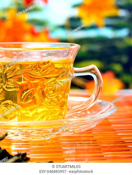 Green Tea Drink Shows Well Drinking And Wellness