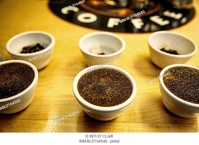 Close up of fresh ground coffee in tasting cups