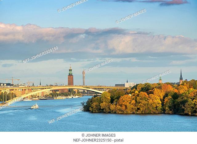 Bridge above river in city
