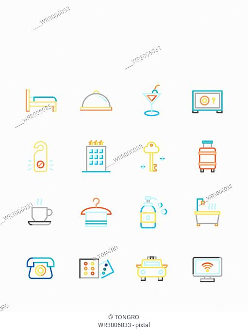 Set of various icons related to hotel