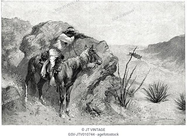 Apache Indian on Horseback Aiming Rifle at Covered Wagon, Illustration, Frederic Remington, Harper's Monthly Magazine, 1890