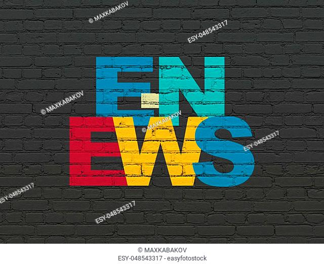 News concept: Painted multicolor text E-news on Black Brick wall background