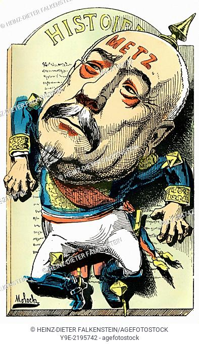 François-Achille Bazaine, 1811-1888, marshal in the Franco-Prussian War or Franco-German War, 1870-71, Political caricature, 1882