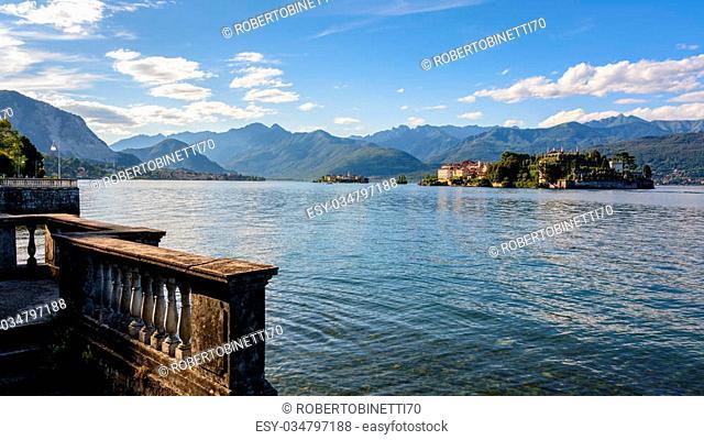 "A nice view from Stresa to two island inside Maggiore lake, """"Isolabella"""", """"Pescatori"""", island. Italy"