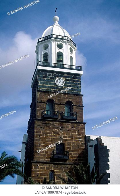 Canary Islands. White Clock Tower of Senora de Gualalupe church