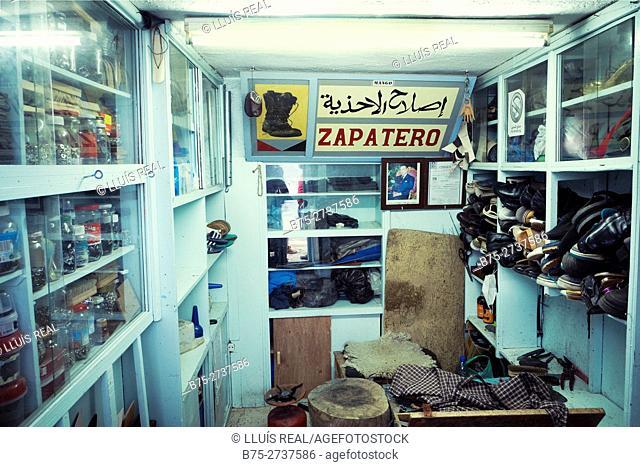 Shoe shop interior, Chaouen, Morocco