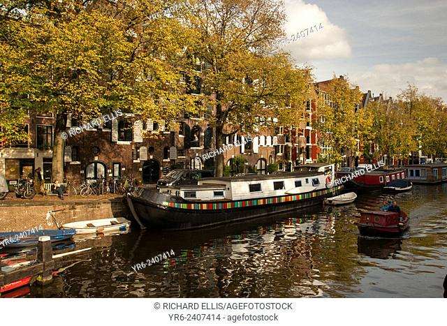 Homes along Brouwersgracht canal in historic Jordaan, section in Amsterdam