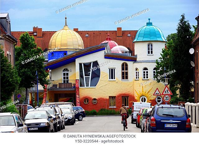 Kinderhaus Bayreuth at Munckerstrasse, interesting colorful architecture similar to Austrin architect Friedensreich Hundertwasser works by architect Karl-Heinz...
