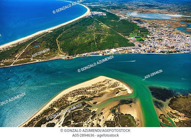 In the background Vila Real de Santo Antonio and Sapal de Castro Marim and Vila Real de Santo Antonio Natural Reserve. Faro district. Algarve