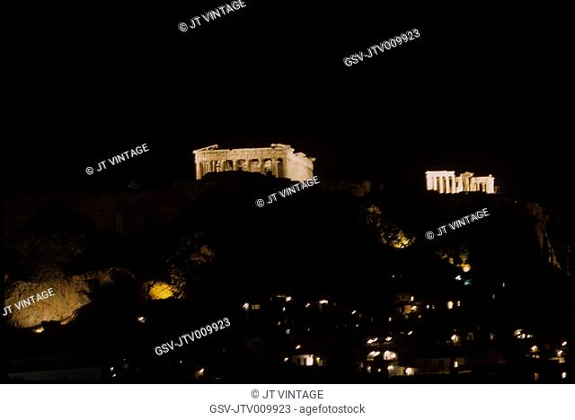 Acropolis at Night, Athens, Greece, 1963