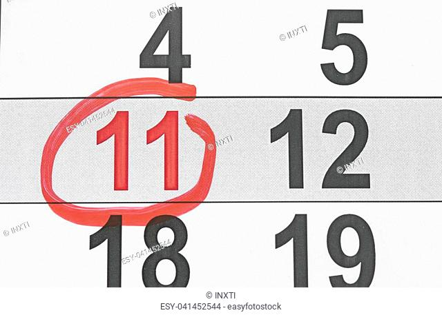 eleventh day of the month is marked with a red mark