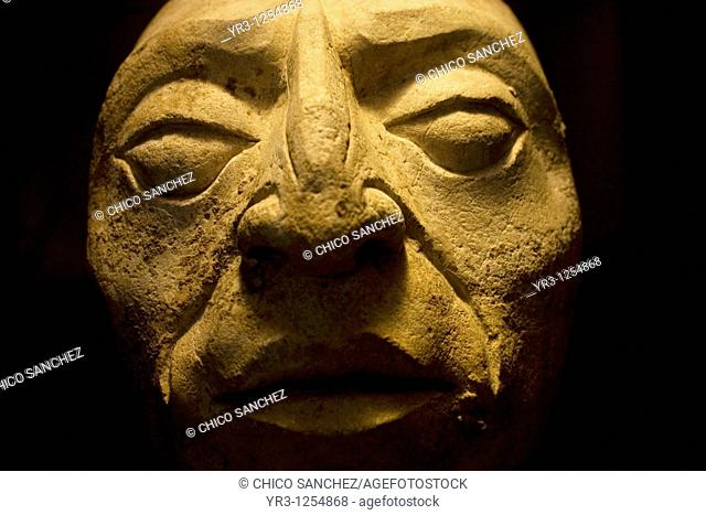 A human head sculpture sits on display in the museum at the ancient Mayan city of Palenque, Chiapas, Mexico