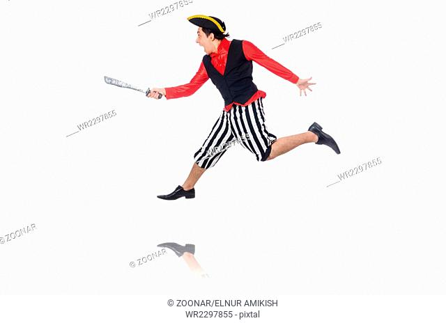 The funny pirate isolated on the white