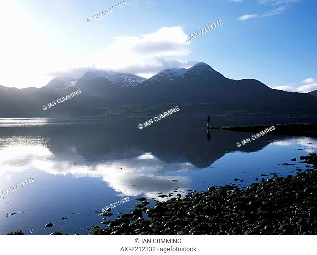 Man Standing On End Of Pier Beside Loch Torridon On A Calm Morning, Ross-Shire, Scotland
