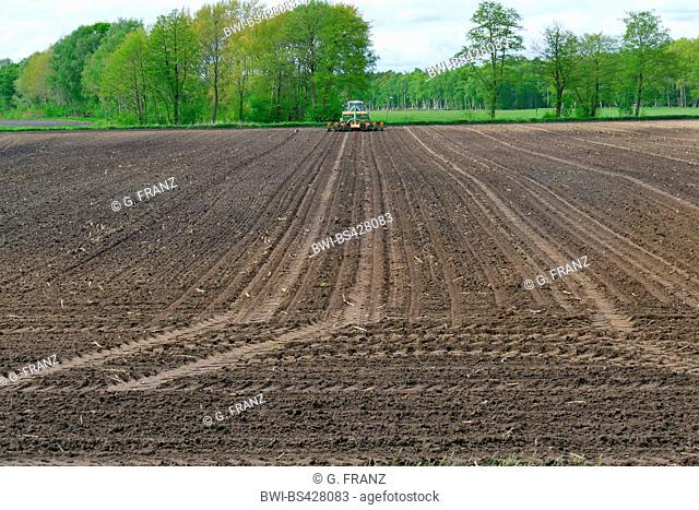 farmer working with tractor on an acre, Germany, Lower Saxony, Bremervoerde