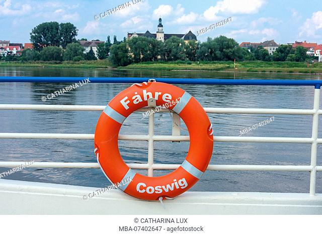 Elbe Cycletour, Coswig (Anhalt), Elbe ferry, lifebuoy