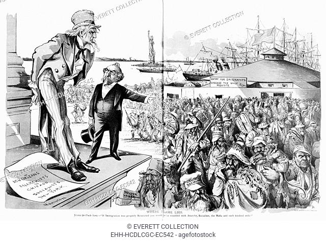 Immigration, 'Where the Blame Lies', Uncle Sam views new immigrants, including the German socialist, Russian anarchist and Italian brigand