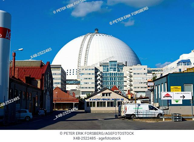 Industrial park, with Ericsson Globe, sports and events hall, Johanneshov district, Stockholm, Sweden