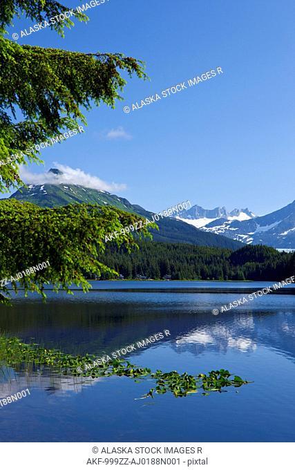 Scenic view of Auke Lake and Mendenhall Glacier and Coast Range Mountains, Southeast Alaska, Summer