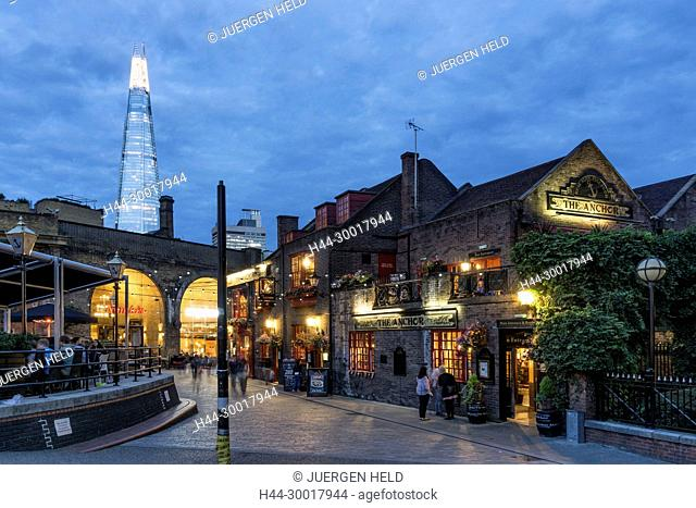 The anchor Pub, Riverside Thames, background The Shard by Architect t Renzo Piano, Southwalk, Clouds, London, UK
