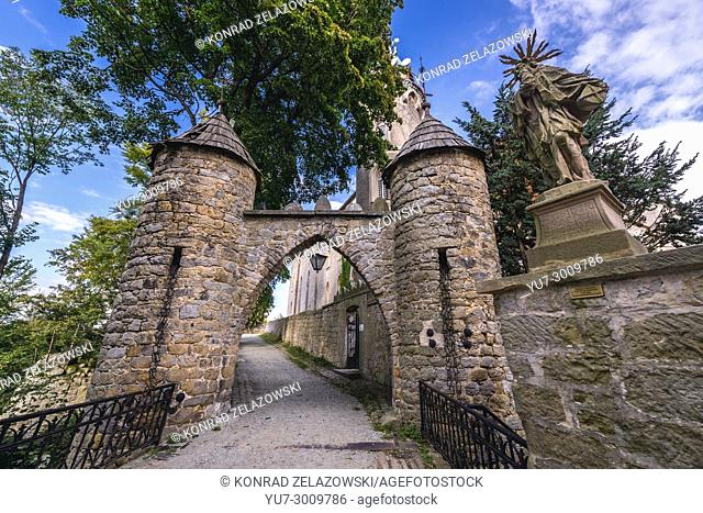 Gateway of Lesna Skala Castle (Forest Rock Castle), currently Social Welfare Home in Szczytna town, Lower Silesian Voivodeship of Poland