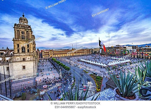 Metropolitan Cathedral and President's Palace Evening Zocalo Center Mexican Flag Mexico City Mexico