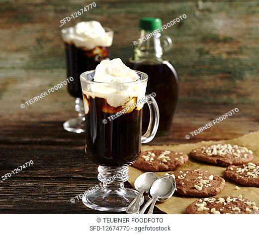 Brunswick coffee with Canadian whiskey and maple syrup, with chocolate chip cookies