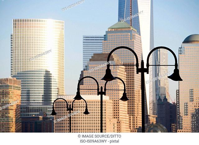 Streetlights and New York City skyline